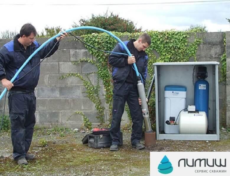 замена насоса Grundfos в скважинах на воду
